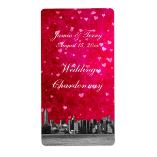Etched NYC Skyline Hot Pink Red Heart Wine Label