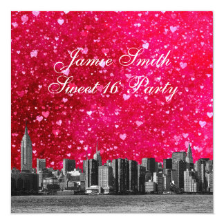 Etched NYC Skyline Ht Pink Red Heart 2 Sweet 16 5.25x5.25 Square Paper Invitation Card