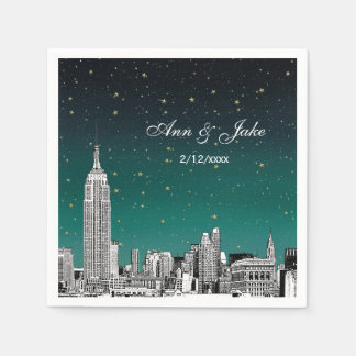 Etched NYC Skyline Shades of Teal Starry Wedding Standard Cocktail Napkin