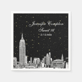 Etched NYC Skyline Starry DIY BG Sweet 16 Disposable Napkin