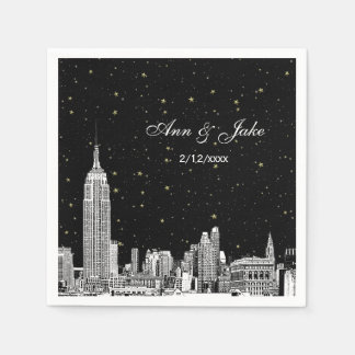 Etched NYC Skyline Starry DIY BG Wedding Disposable Napkins