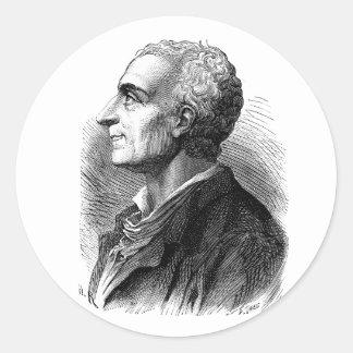 Etched Portrait of Montesquieu by Emile Bayard Classic Round Sticker