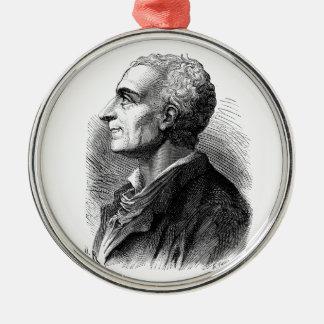 Etched Portrait of Montesquieu by Emile Bayard Metal Ornament