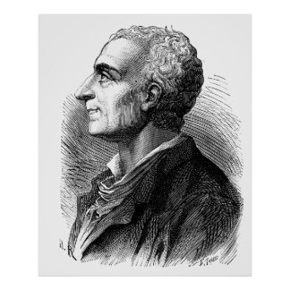 Etched Portrait of Montesquieu by Emile Bayard Poster