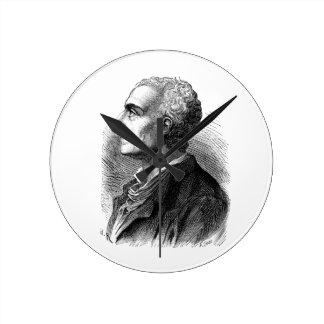 Etched Portrait of Montesquieu by Emile Bayard Round Clock