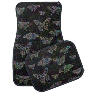 Etched Rainbow Butterflies Car Mat