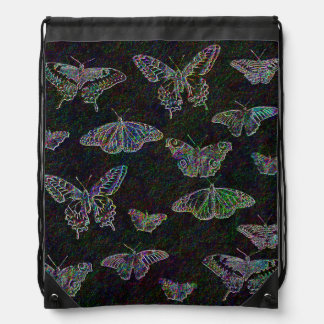 Etched Rainbow Butterflies Drawstring Backpacks
