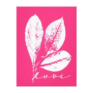 Etched Skeleton Leaf Raspberry Pink Love Canvas Print