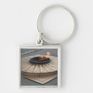 Eternal flame Silver-Colored square keychain