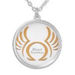 Eternal Guardians Medium Silver Plated Round Neckl Custom Jewelry