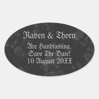Eternal Handfasting/Wedding Suite Black & Gray Oval Sticker