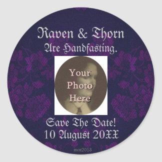 Eternal Handfasting/Wedding Suite Purple Round Stickers