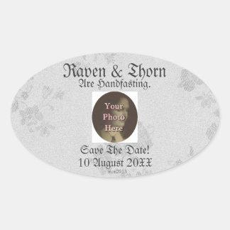 Eternal Handfasting/Wedding Suite White & Gray Oval Sticker