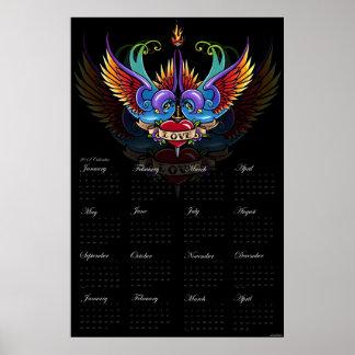 Eternal Love Rainbow Swallow Tattoo 2012 Calendar Print