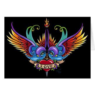 Eternal Love Rainbow Swallow Tattoo Card