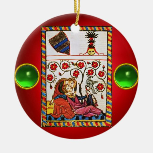 ETERNAL LOVE red green gem Double-Sided Ceramic Round Christmas Ornament