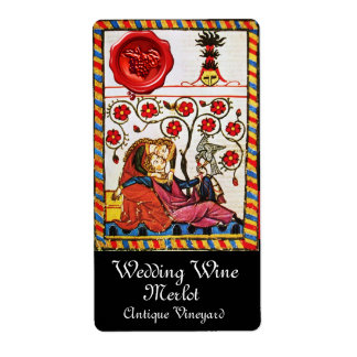 ETERNAL LOVE, RED WAX SEAL Wedding Wine Custom Shipping Label