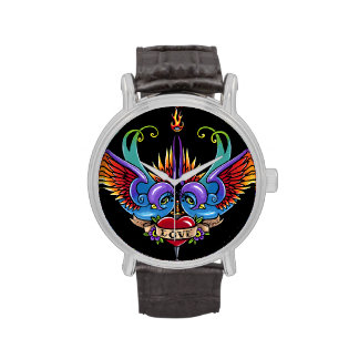 Eternal Love Swallow Tattoo Black Leather Watch
