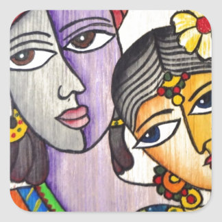 Eternal Lovers -Radha Krishna Square Stickers