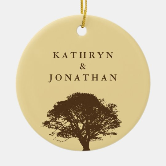 Eternal oak tree sentiment yellow holiday keepsake ceramic ornament