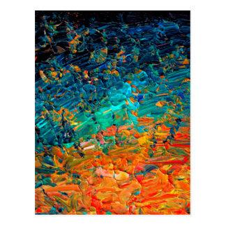 ETERNAL TIDE 2 Orange Turquoise Blue Black Ombre Postcard
