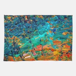 ETERNAL TIDE 2 Orange Turquoise Blue Black Ombre Towel