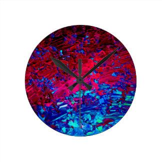 ETERNAL TIDE Bold Fuchsia Pink Red Blue Ombre Art Round Clock