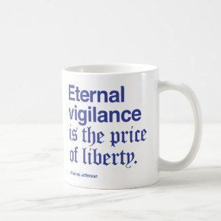 Eternal Vigilance requires a lot of coffee Blue Coffee Mugs