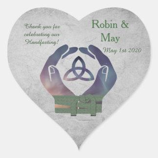 Eternity Handfasting Heart Thank You Sticker Favor