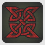 Eternity Knot (Celtic-red & black on grunge green) Square Sticker