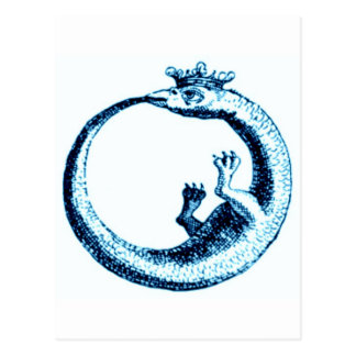 ETERNITY SERPENT VINTAGE PRINT IN BLUE POSTCARD