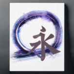 """Eternity with Zen, Enso Plaque<br><div class=""""desc"""">Kanji character for &quot;Eternity&quot; is featured on this Sumi-e,  Japanese style ink painting in color. [blues,  magenta,  purple tones] The Enso is one of the deepest symbols in Japanese Zen: Enso represents the void,  the Tao,  the infinite,  simple existence,  impermanence,  emptiness,  enlightenment and the loss of self.</div>"""