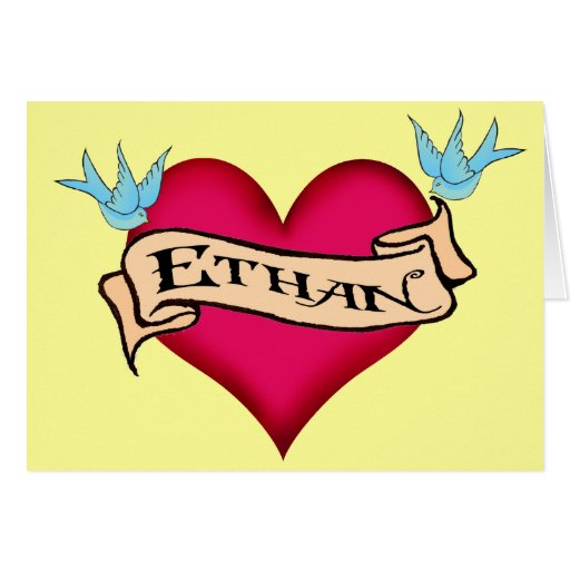 Ethan custom heart tattoo t shirts gifts card zazzle for Custom t shirts personalized gifts