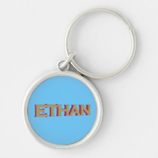 Ethan in 3D gold over blue on premium keychain
