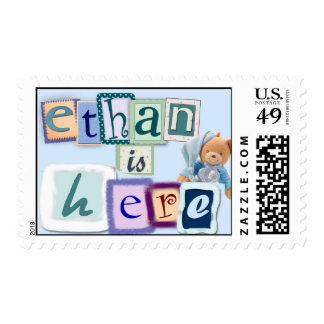 Ethan is here - new baby announcement postage