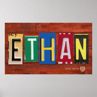 ETHAN License Plate Letter Name Custom Sign Poster