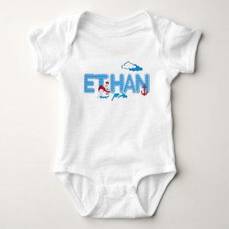 ETHAN / personalised name illustration Baby Bodysuit