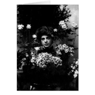 Ethel Barrymore Actress Surrounded by Flowers Card