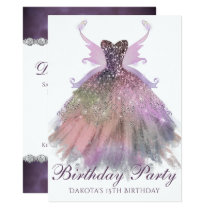 Ethereal Birthday Party Sparkle Gown Pixie Wings Card