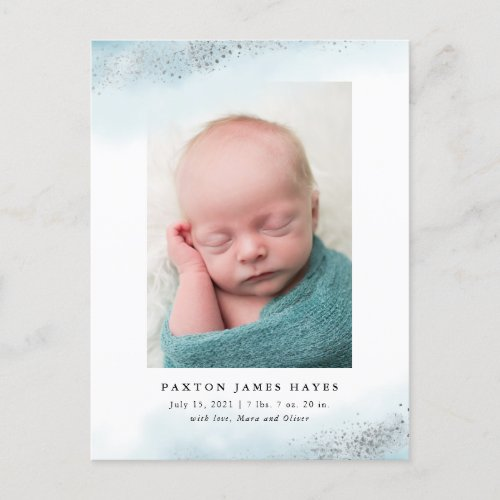 Ethereal Blue and Silver Cloud Baby Photo Birth Announcement Postcard