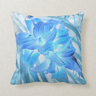Ethereal Blue Lily, Plain Blue Back Throw Pillow
