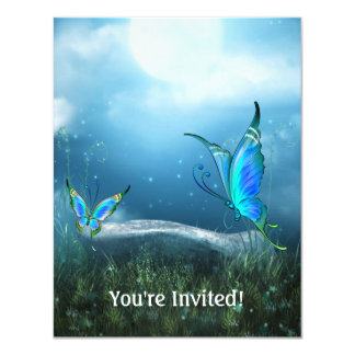Ethereal Blue Moon Butterfly Garden Event Card