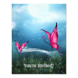 Ethereal Blue Moon Pink Butterfly Garden Event Card