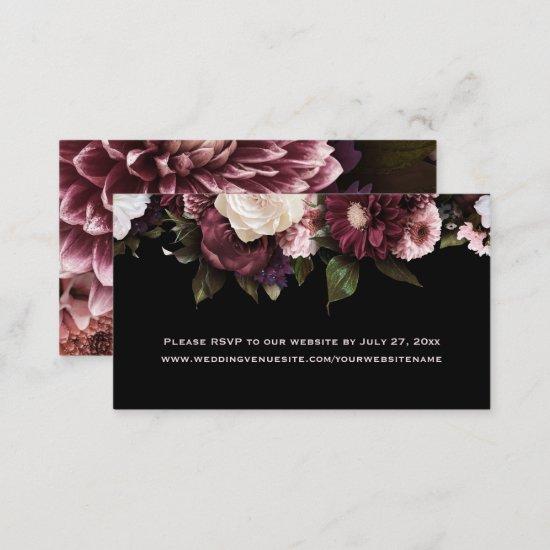 Ethereal Boho Burgundy Pink Floral RSVP to Website Enclosure Card