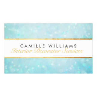 ETHEREAL BOKEH pattern elegant gold strip blue Double-Sided Standard Business Cards (Pack Of 100)