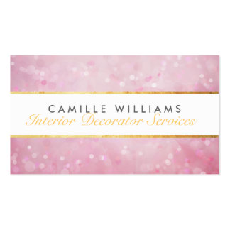 ETHEREAL BOKEH pattern elegant gold strip pink Double-Sided Standard Business Cards (Pack Of 100)