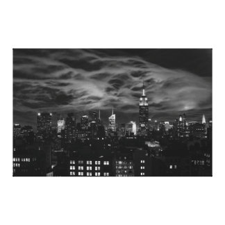 Ethereal Clouds NYC Skyline Empire State Bld BW XL Gallery Wrap Canvas