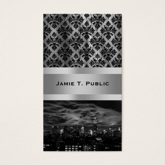 Ethereal Clouds: NYC Skyline, Empire State Bldg BW Business Card