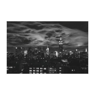 Ethereal Clouds: NYC Skyline, Empire State Bldg BW Gallery Wrapped Canvas