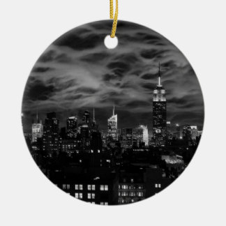 Ethereal Clouds: NYC Skyline, Empire State Bldg BW Double-Sided Ceramic Round Christmas Ornament